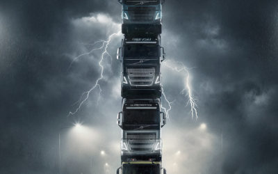 Een toren van nieuwe Volvo Trucks in spectaculaire introductiefilm
